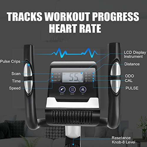 FUNMILY Elliptical Machine for Home Use, Cross Trainer with LCD Monitor 8 Level Magnetic Resistance, LCD Monitor and Pulse Rate Grips, Heavy Duty Flywheel for Cardio Training Workout