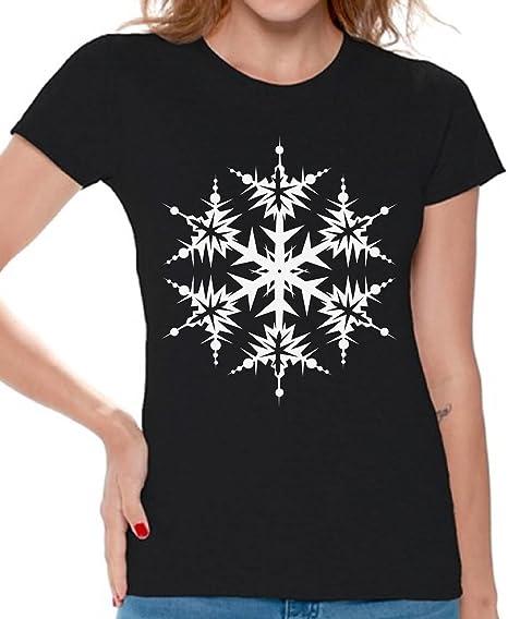 ac678626 Awkward Styles Ugly Christmas Snowflake T Shirt Women's Snowflake Christmas  Shirt Black S