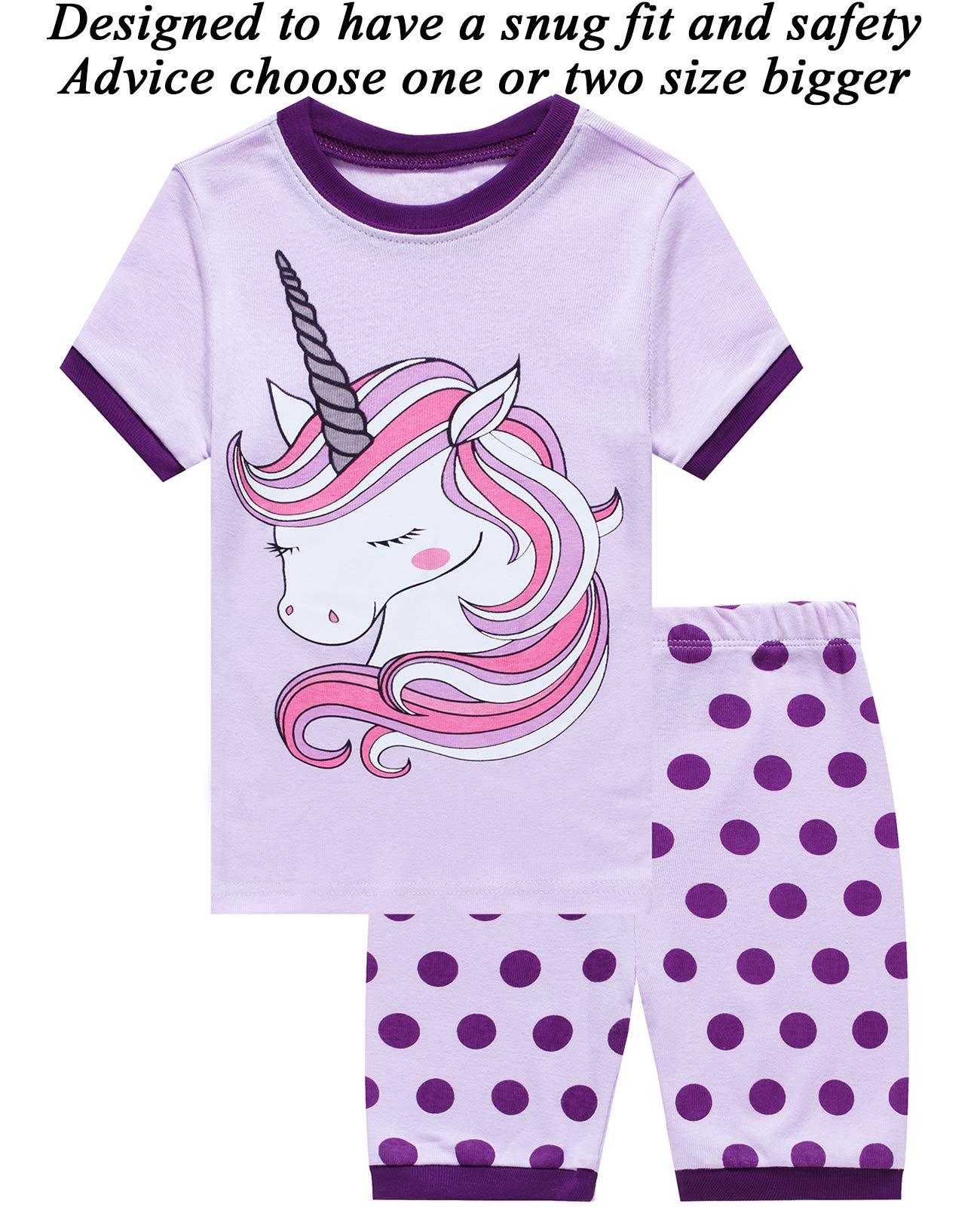 Little Pajamas Unicorn Sleepwear 100% Cotton Summer Short Toddler Pjs Clothes Shirts Purple 4T