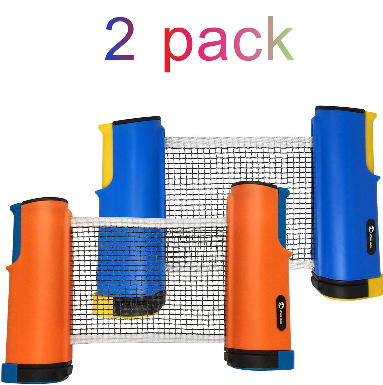 JP WinLook Ping Pong Net - 2 Pack Retractable Table Tennis Nets/Post Set Replacement, Adjustable Any Table Anywhere, Portable Holder Cover Case Bag, Indoor & Outdoor Accessories, Bracket Clamps