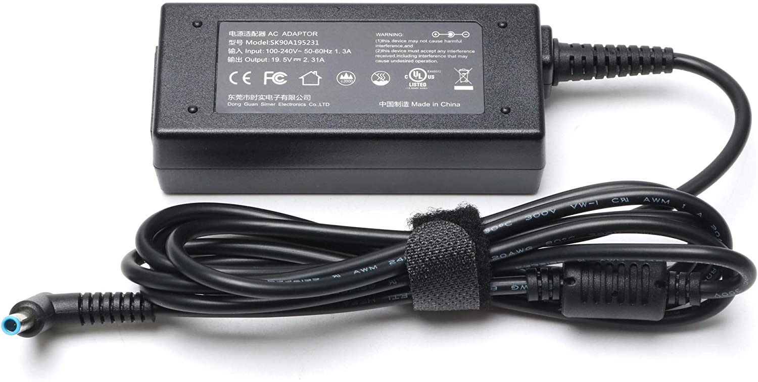 19.5V 2.31A AC Adapter for HP 14 15 Notebook Charger 14-cf0014dx 14-cf0013dx 14-df0018wm 14-df0023cl 14-dk0002dx 14-dk0022wm 15-db0011dx 15-db0015dx 15-f039wm 15-f233wm 15-r132wm Laptop Power Supply
