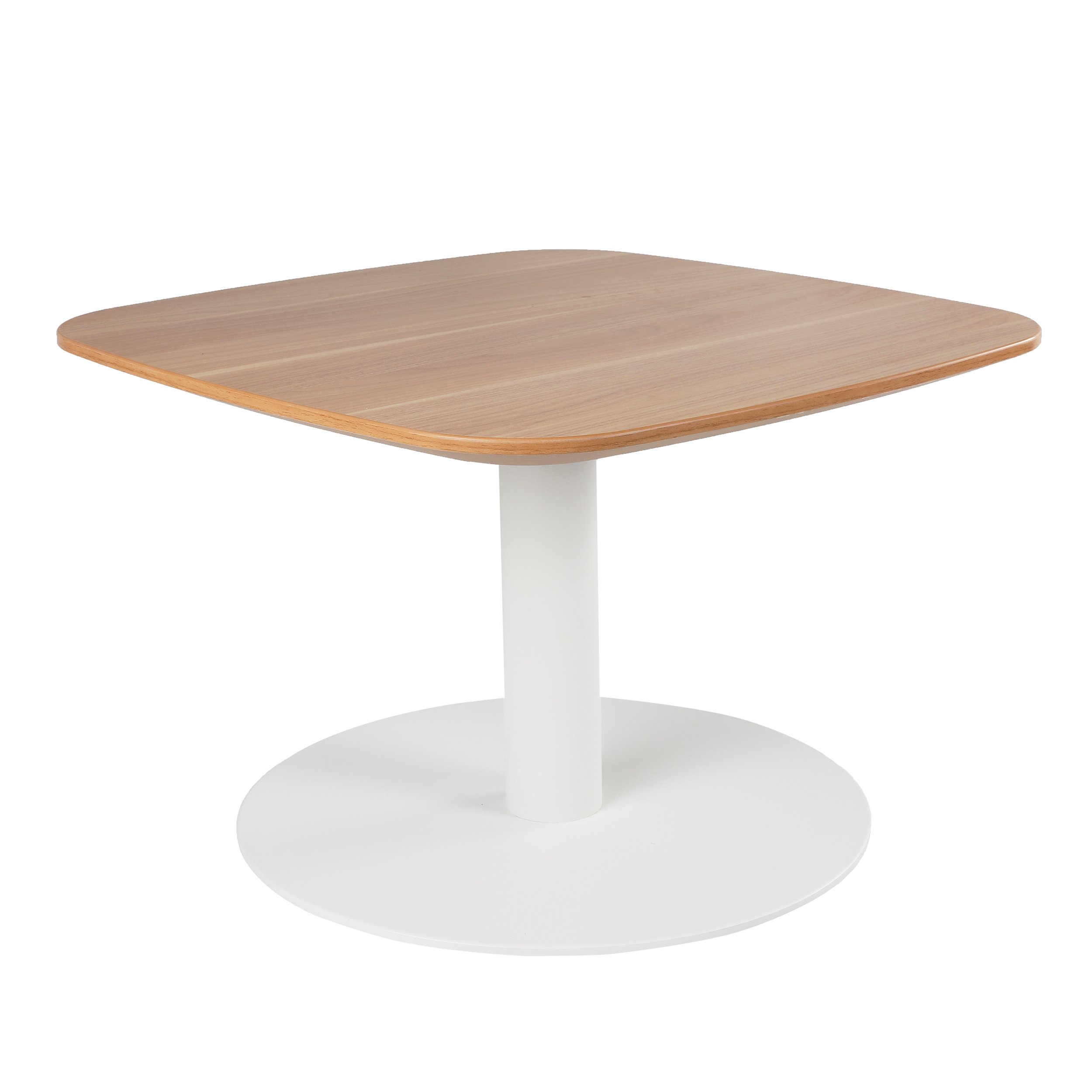 Sunon Small Side Table Lounge Square Coffee Table, 23.6'' Side Cafe Table with White Metal Pedestal(Virginia Walnut)
