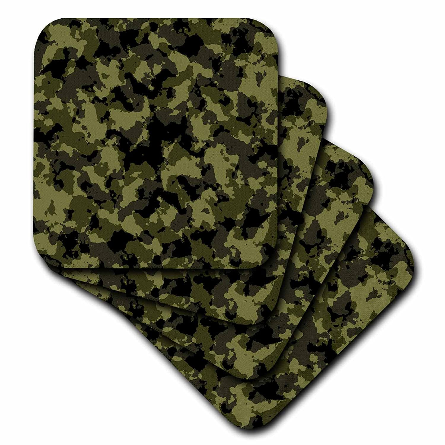 set of 4 Ceramic Tile Coasters cst/_271866/_3 Space for custom text Texture Camouflage 3dRose Alexis Design Green and black military camouflage texture