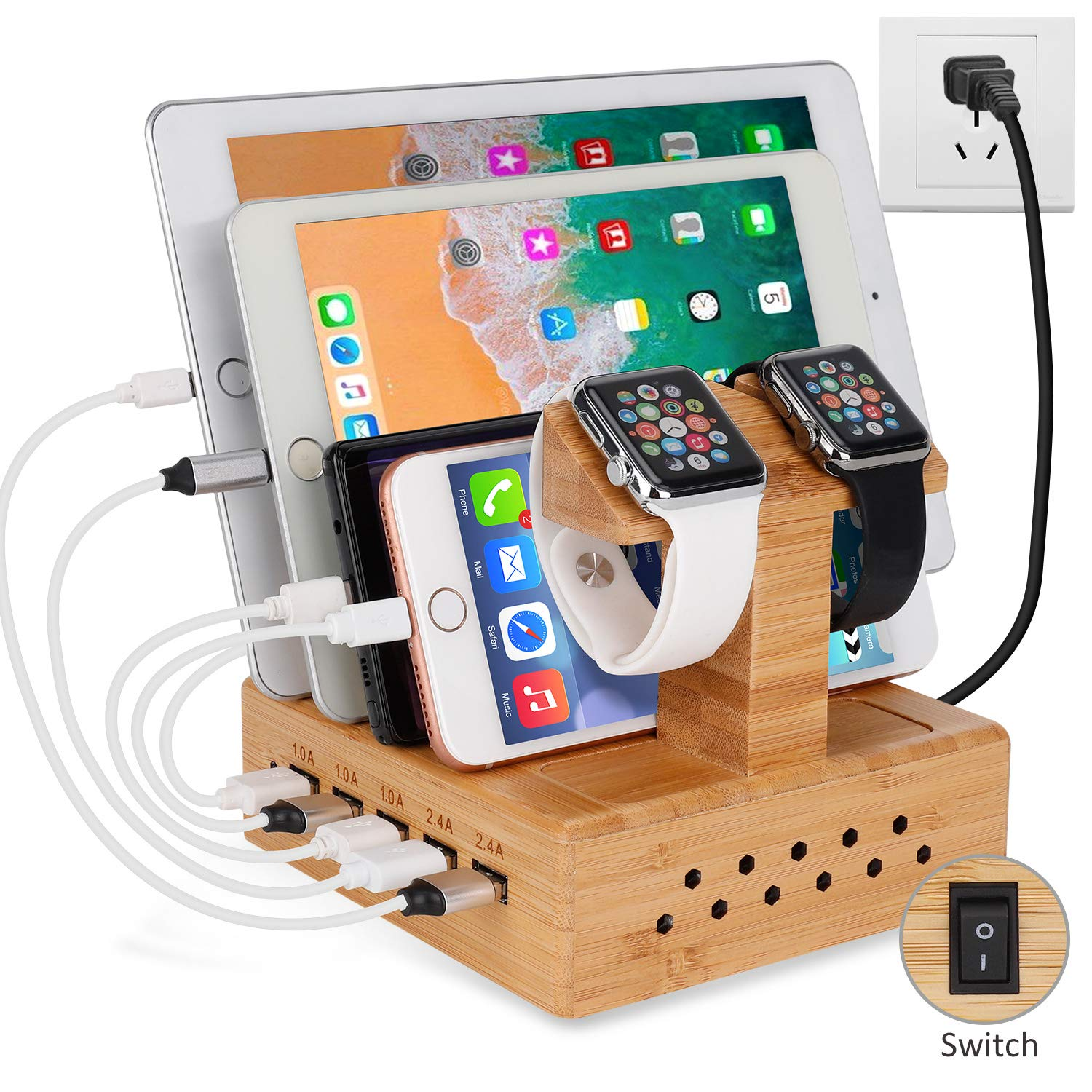 Yisen Wood Bamboo Foldable Multi-Angle Stand Holder for Smartphone, Tablet, iPhone 8/8 Plus/7/7 Plus, iPhone X, Galaxy Note 8, iPad 10.5, Nintendo Switch, by Yisen
