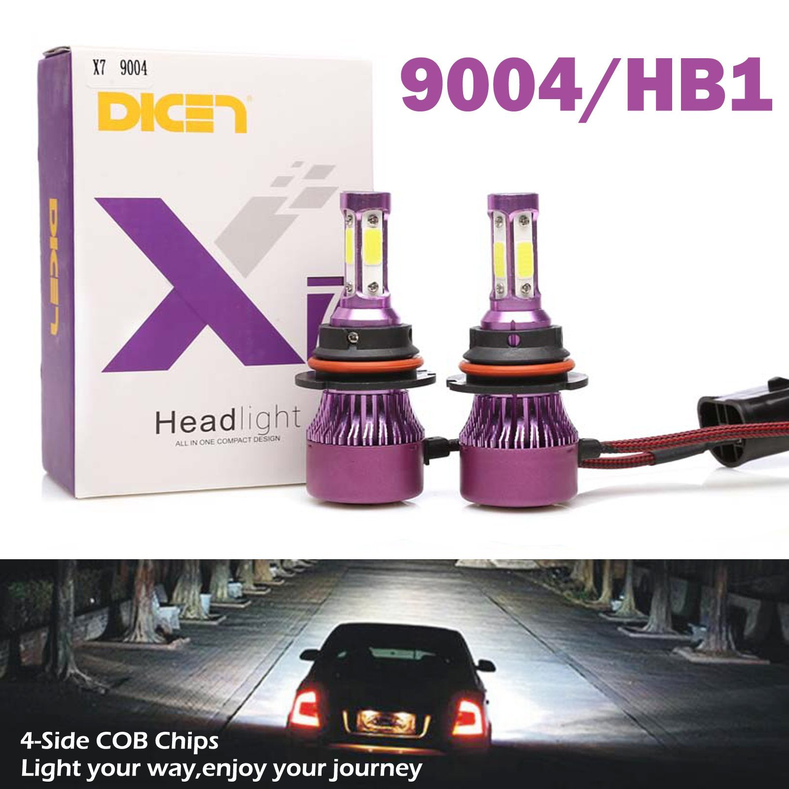 9004 HB1 LED Headlight Bulbs High Low Beam 6000K Bright White 60W 6000LM 4 Side COB Chips Car Headlamp Automotive Conversion Kit (Pack of 2, 2 Year Warranty) by DICN