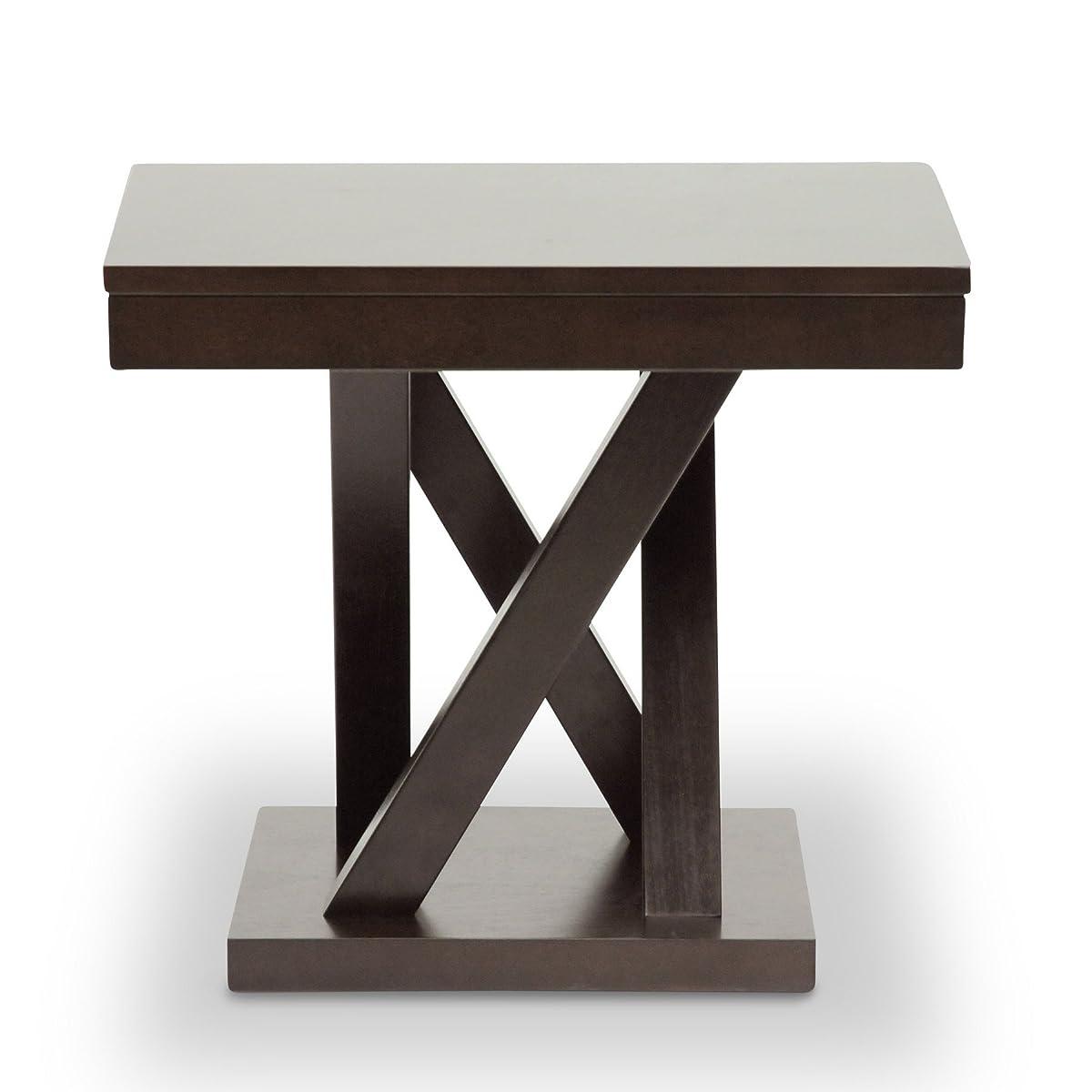 Baxton Studio Everdon Modern End Table, Dark Brown