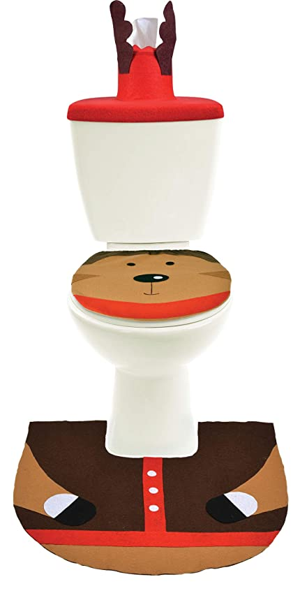 Amazon Com Reindeer Toilet Bathroom Christmas Decorations 3 Piece