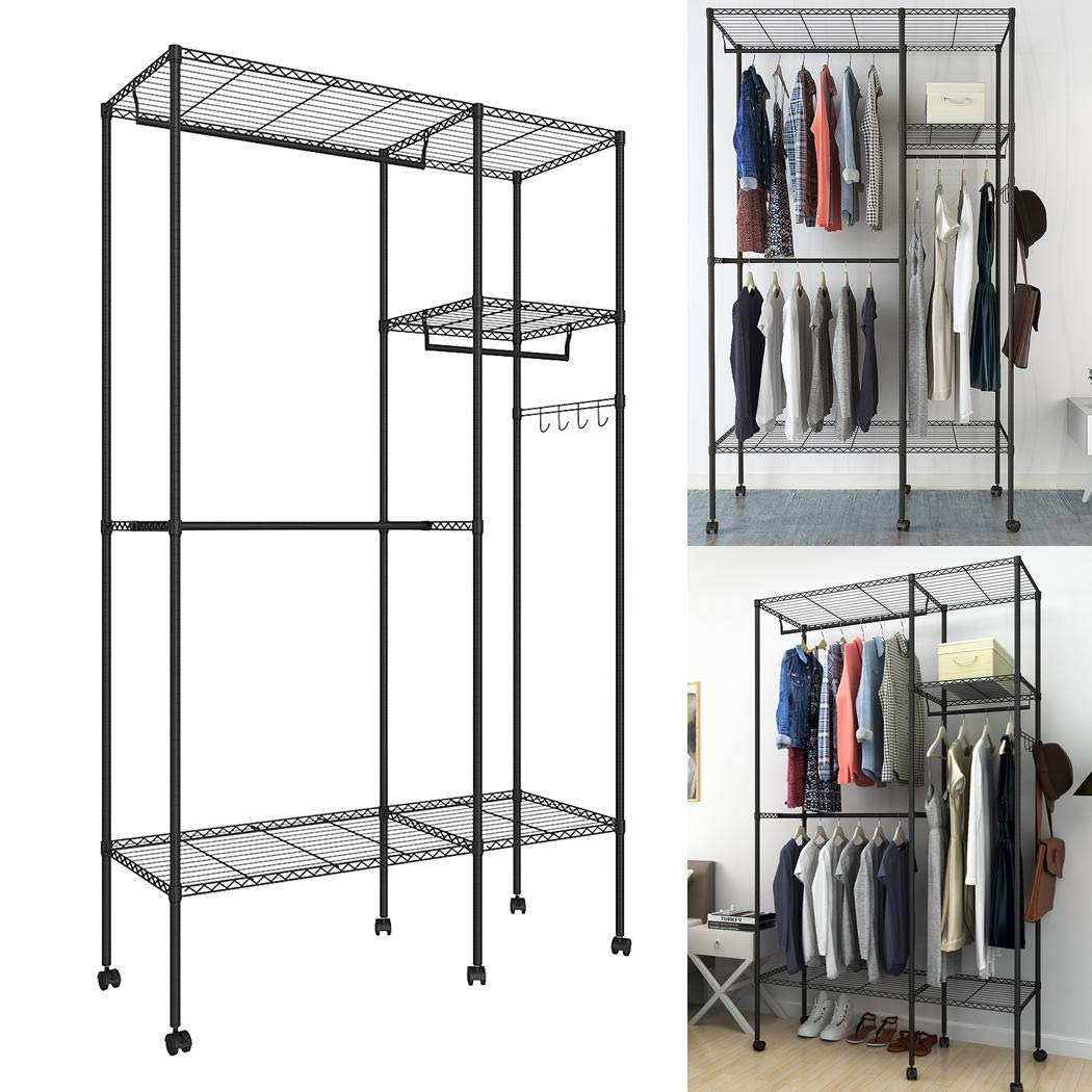 Closet Organizer Wardrobe with 6 WheelsPortable Clothes Storage Tier Rackwith Detachable Hanging Rod and Side Hooks UtilityFreestanding Durable Garment Shelf Easy Assemble [US Stock]