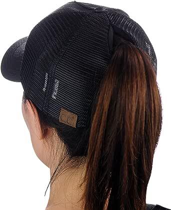 Ponytail Messy Buns Trucker Plain Baseball Visor Cap Unisex Glitter Hat Janly Clearance Sale Hat