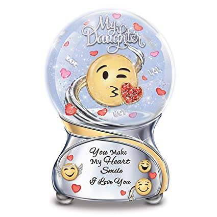 Bradford Exchange The Daughter Musical Emoji Glitter Globe with Poem Card:  Plays You Are My Sunshine