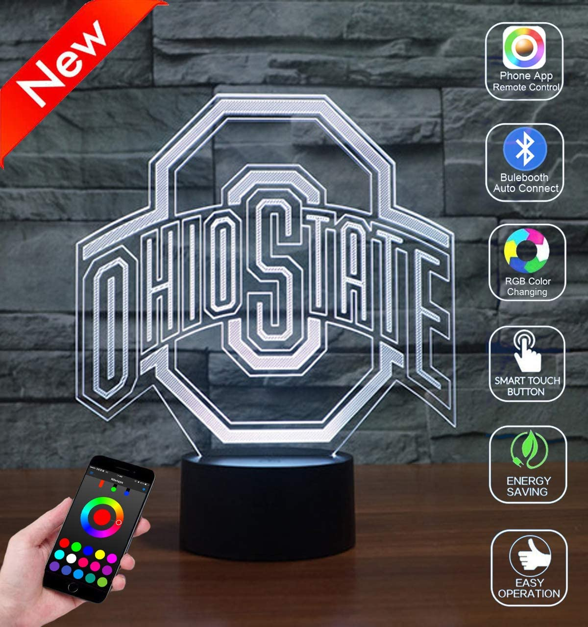 Lakobsy NCAA Ohio State University Team Logo 3D Optical Illusion Lamp Phone APP Bluetooth Remote Control Smart Night Light Decor Bedside Toy Lamp for Kids Gift