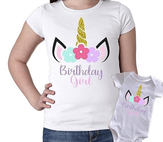 Amazon Unicorn Birthday Girl Shirt Or Bodysuit Top Gold Silver Glitter 1st 2nd 3rd 4th 5th Handmade