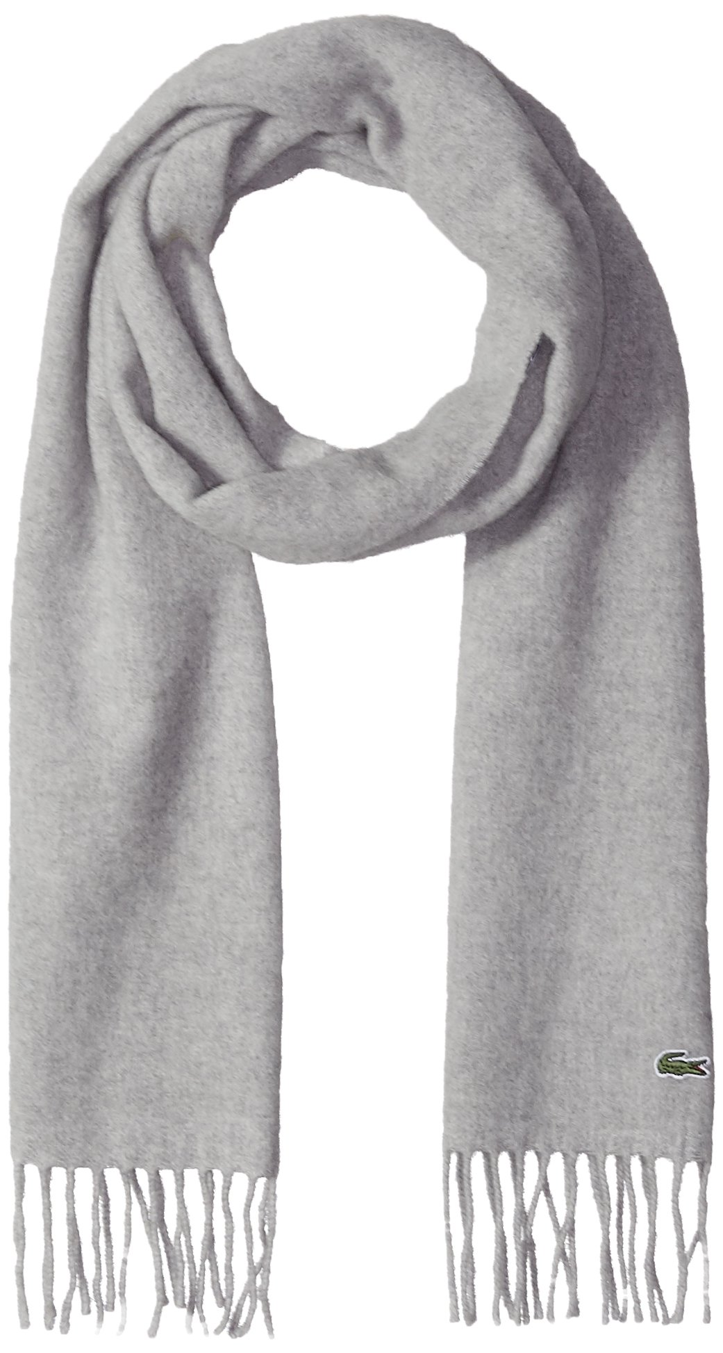 Lacoste Men's Flannel Wool Cashmere Scarf, Silver Chine, One Size by Lacoste