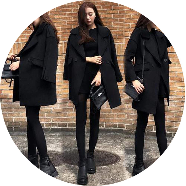 Black Women Winter Coats Long Thick Warm Woolen Coat with Cotton Lining Long Fashion Overcoat