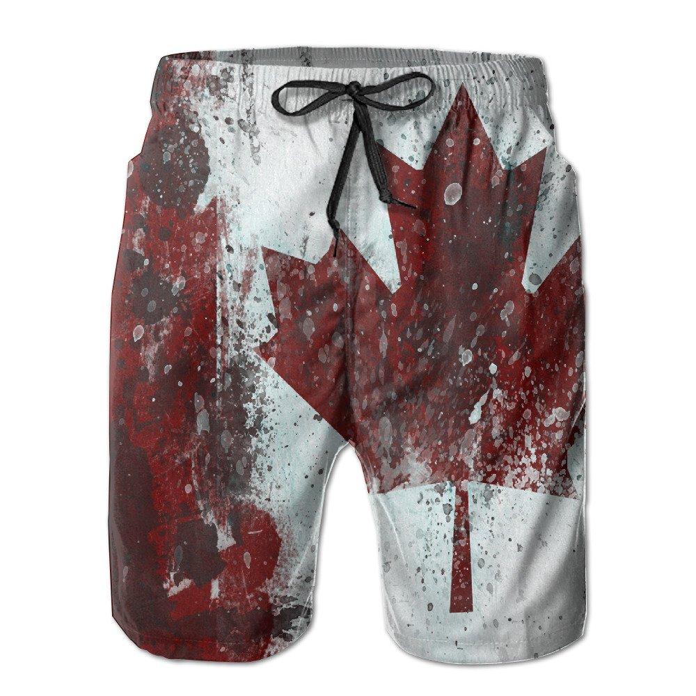 Men's Canada Flag Maple Leaf Quick-drying Swim Trunks Casual Beach Shorts