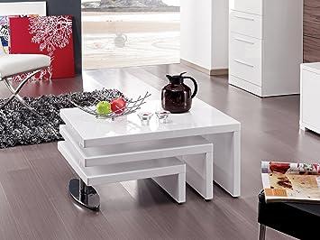 Habitat et Jardin - Table Basse Design Elysa en MDF Laque Blanc - 80 ...