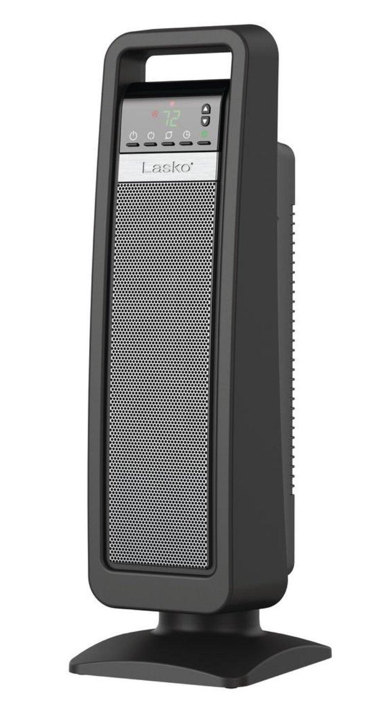 Lasko Digital Ceramic Tower Heater with Save-Smart Control, Gray