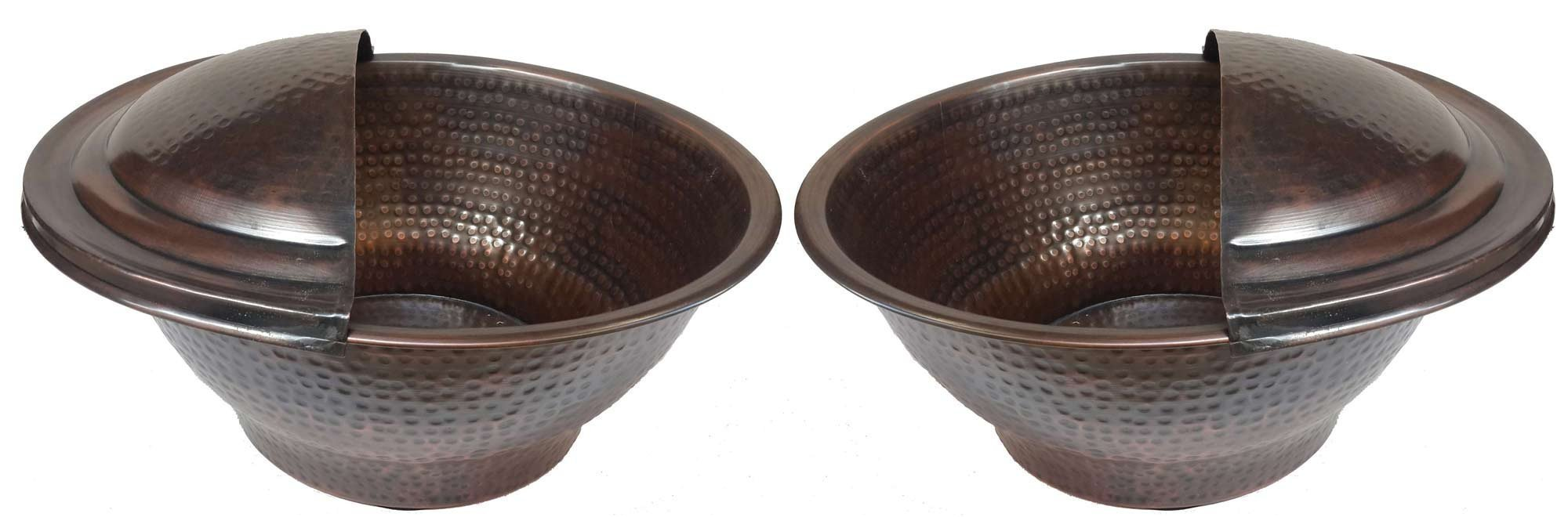 Egypt gift shops Pair Antique Patina Copper Massage Therapy Deep Pedicure Water Bowls + 2 Foot Rests