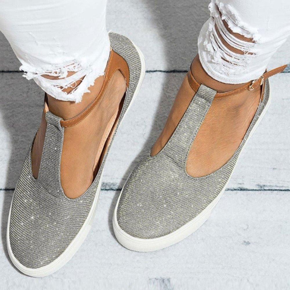 Fannyfuny/_ Zapatos Mujeres Zapatillas de Playa Zapatos de Vestir Zapatillas Casual Verano Mocasines Mujer Zapatos de Charol Zuecos Sandalias Mujer de Cuero Planas C/ómodos Casual Mocasines Loafers