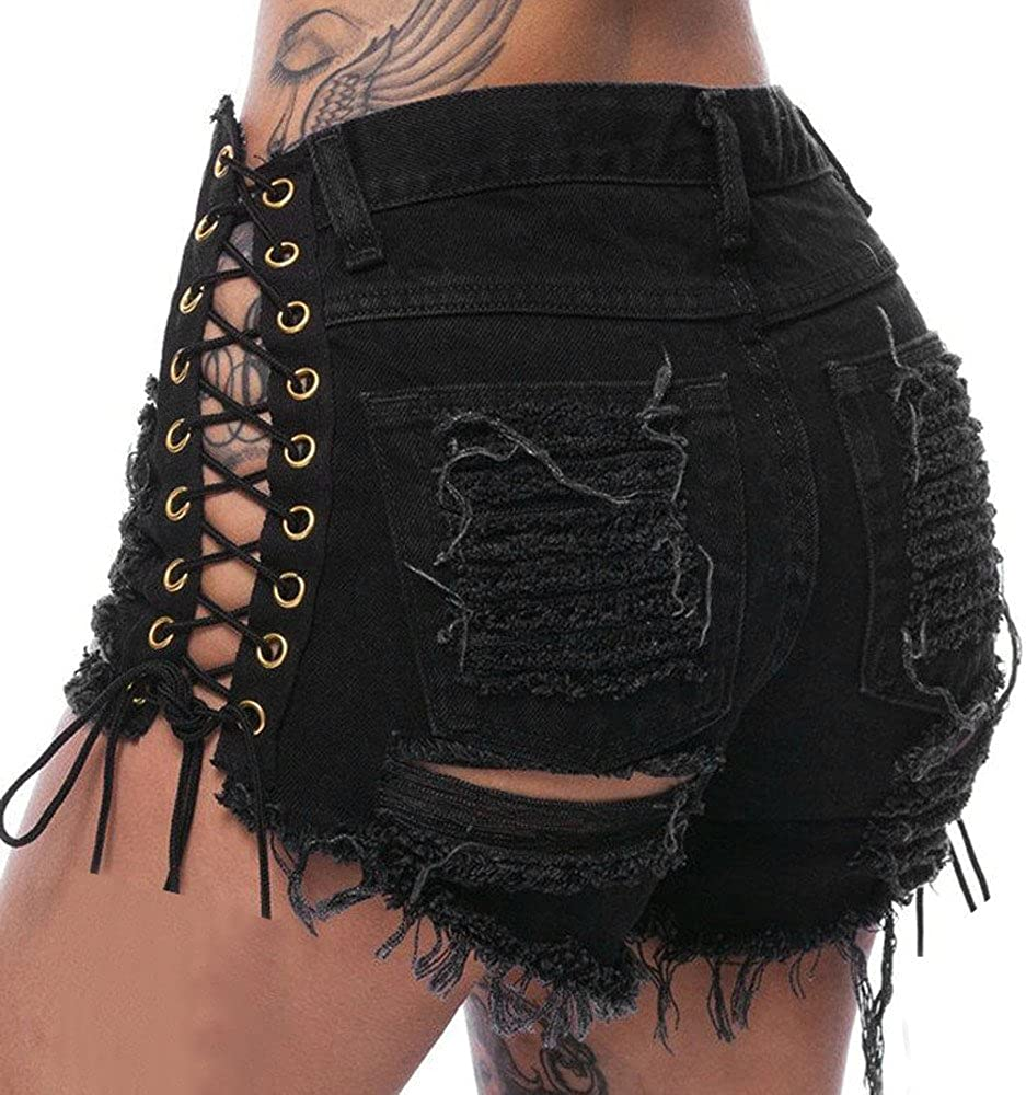 Shorts for Women Hole Destroyed Ripped High Waist Jeans Denim Shorts Hot Pants