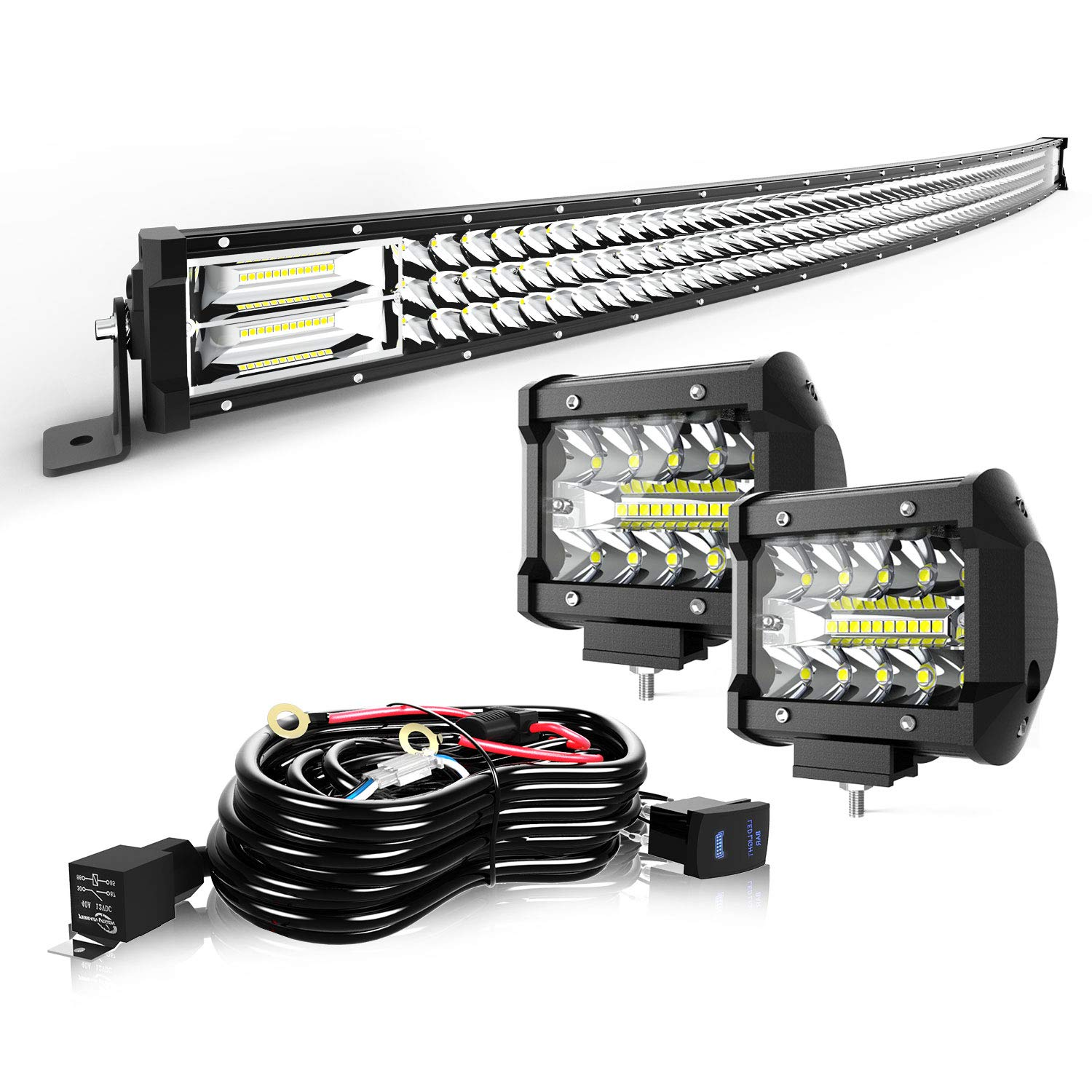 """TURBO SII 50"""" LED Light Bar Curved Triple Row 684W Flood Spot Combo Beam Led Bar W/ 2Pcs 4in Off Road Driving Fog Lights with Wiring Harness-3 Leads for Jeep Trucks Polaris ATV Boats Lighting"""
