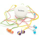 JustJamz Cookie Carry Case with 3 Colorful, iPhone, Android Compatible, Noise Isolating 3.5mm In-Ear Earphones (White)