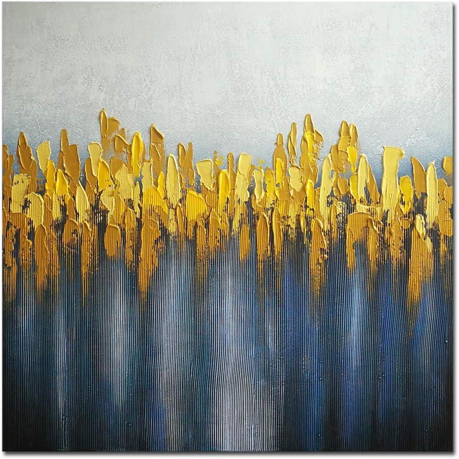 Wieco Art - Lienzo decorativo para pared (tamaño grande), diseño abstracto, color gris, amarillo y azul