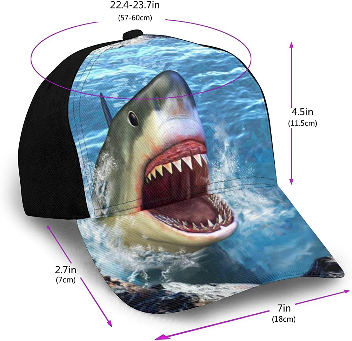 3D Cool Shark Classic Baseball Cap Men Women Dad Hat Twill Adjustable Size Black
