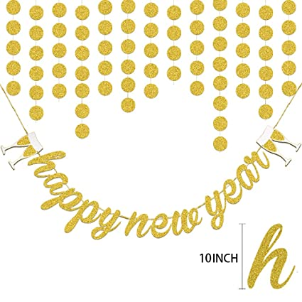 konsait giant gold glitter happy new year banner party decorations shimmer circle dots hanging garland for