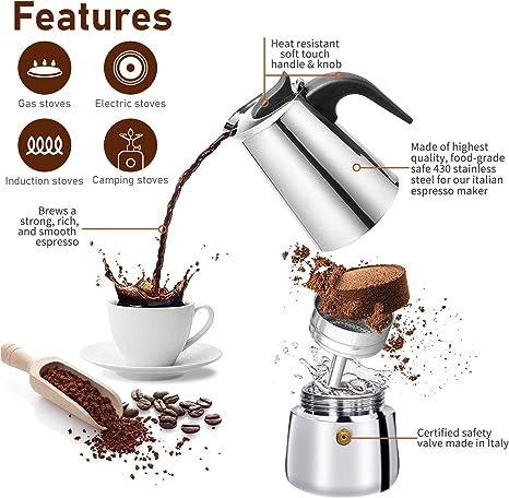 Owoda Cafetera Italiana Inducción, 4 tazas 200ml Cafetera Moka de Acero Inox, Cafetera Espressos Con Posavasos, Cucharas, Perfecta para Uso Doméstico ...