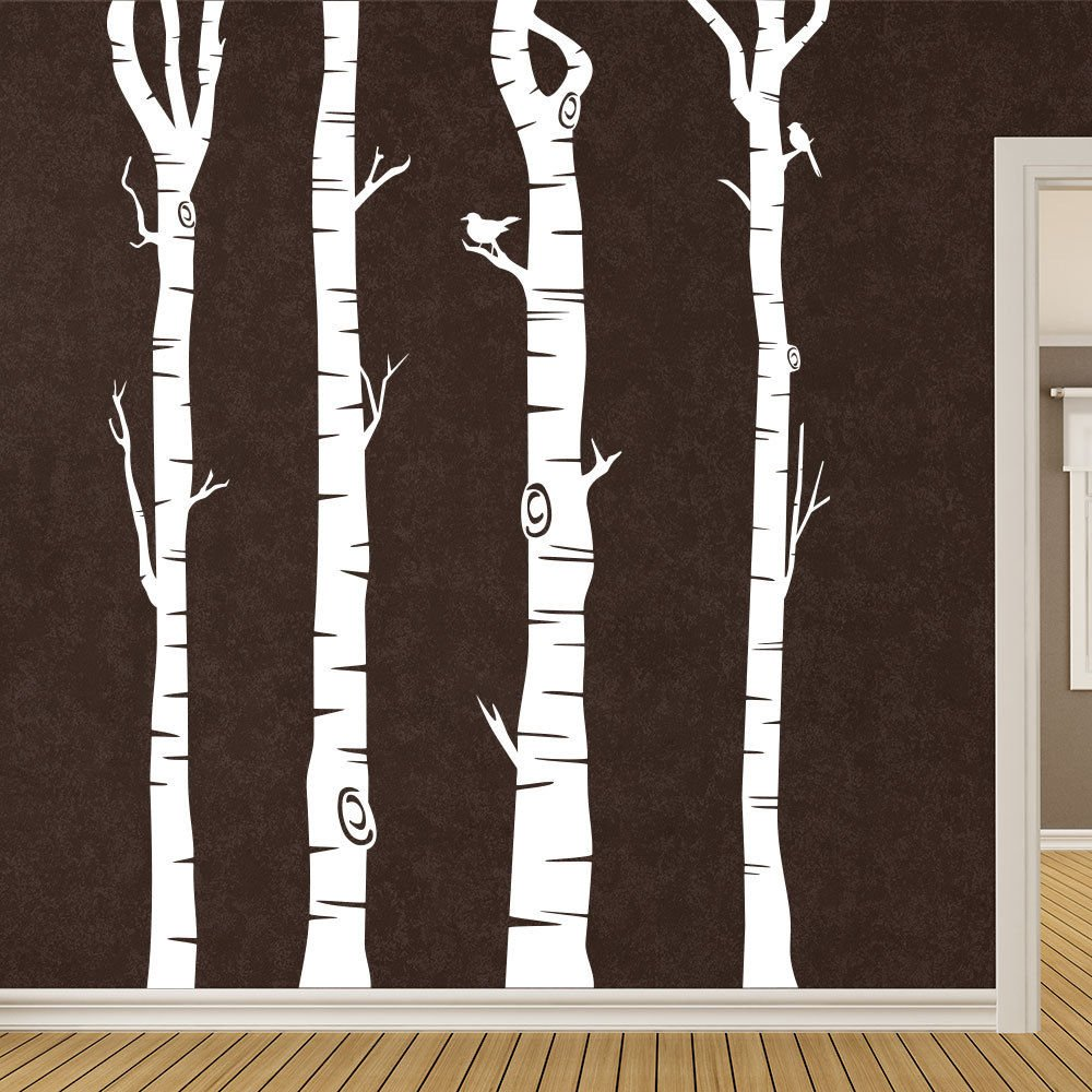 KLEBEHELD® Wandtattoo Birkenstämme - Birken - Stämme - - - Birkenstamm Farbe weiss, Größe 200cm B072QSNXR2 Wandtattoos & Wandbilder b10532
