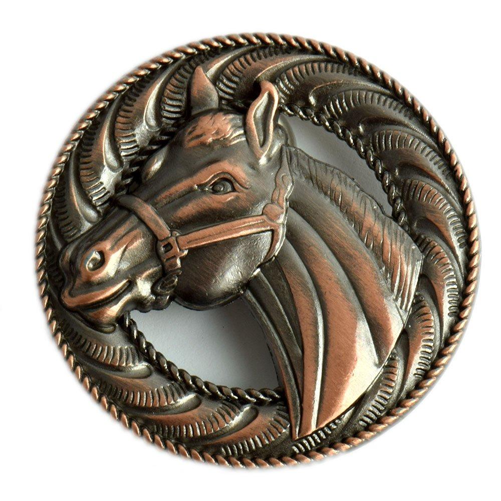 Concho Embellishment cavallo/Bronco Screwback Conchos con una finitura rame antico. HHH Embellishments 193705ACP