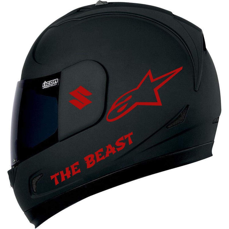 SUPERSTICKI Alpinestar The Beast Suzuki Helmaufkleber Helm Motorrad Aufkleber Bike Auto Racing Tuning aus Hochleistungsfolie Aufkleber Autoaufkleber Tuningaufkleber Hochleistungsfolie f/ür a