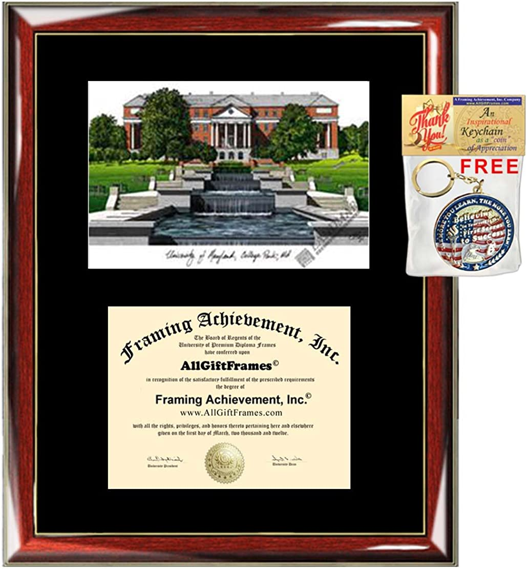 University Of Maryland College Park Diploma Frame Lithograph Umd Document Framing Certificate Graduation Degree Holder Graduate Gift Diploma Frames Clothing Amazon Com