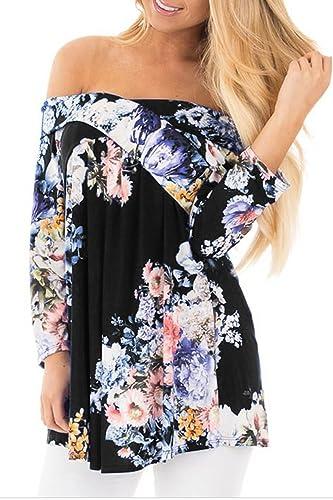 Mujeres Hombro Floral Print Acanalada Blusa Entrecruzan Sobrepelliz Amplia Hem Tunic T - Shirt