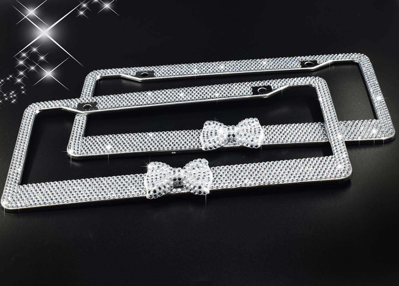 Handmade Waterproof Glitter Rhinestones Crystal Plate Frames for Cars with Screws Caps Set Gift White Bowtie License Plate Frames 2 Pack Bling Bling White Bow