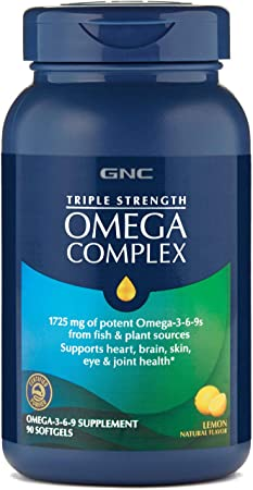 GNC Triple Strength Omega Complex, 90 Lemon Flavored Softgels, Supports Joint, Skin, Eye, and Heart Health