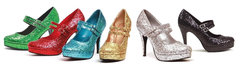 12 Size Silver Glitter ELLIE 421-JANE-G 4 Double Strap Glitter Mary Jane
