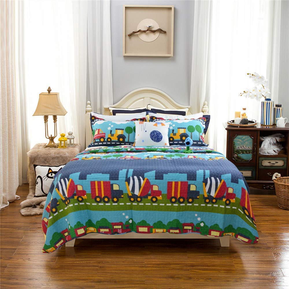 Abreeze Coverlet Quilt Bedspread Quilt Set for Kid's Boys Bed Gift 100% Natural Cotton Twin (2pc), Train by Abreeze