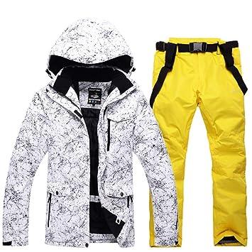 Zjsjacket Chaqueta de esqui -30 Hombres / mujer trajes de nieve blancos conjuntos juegos de