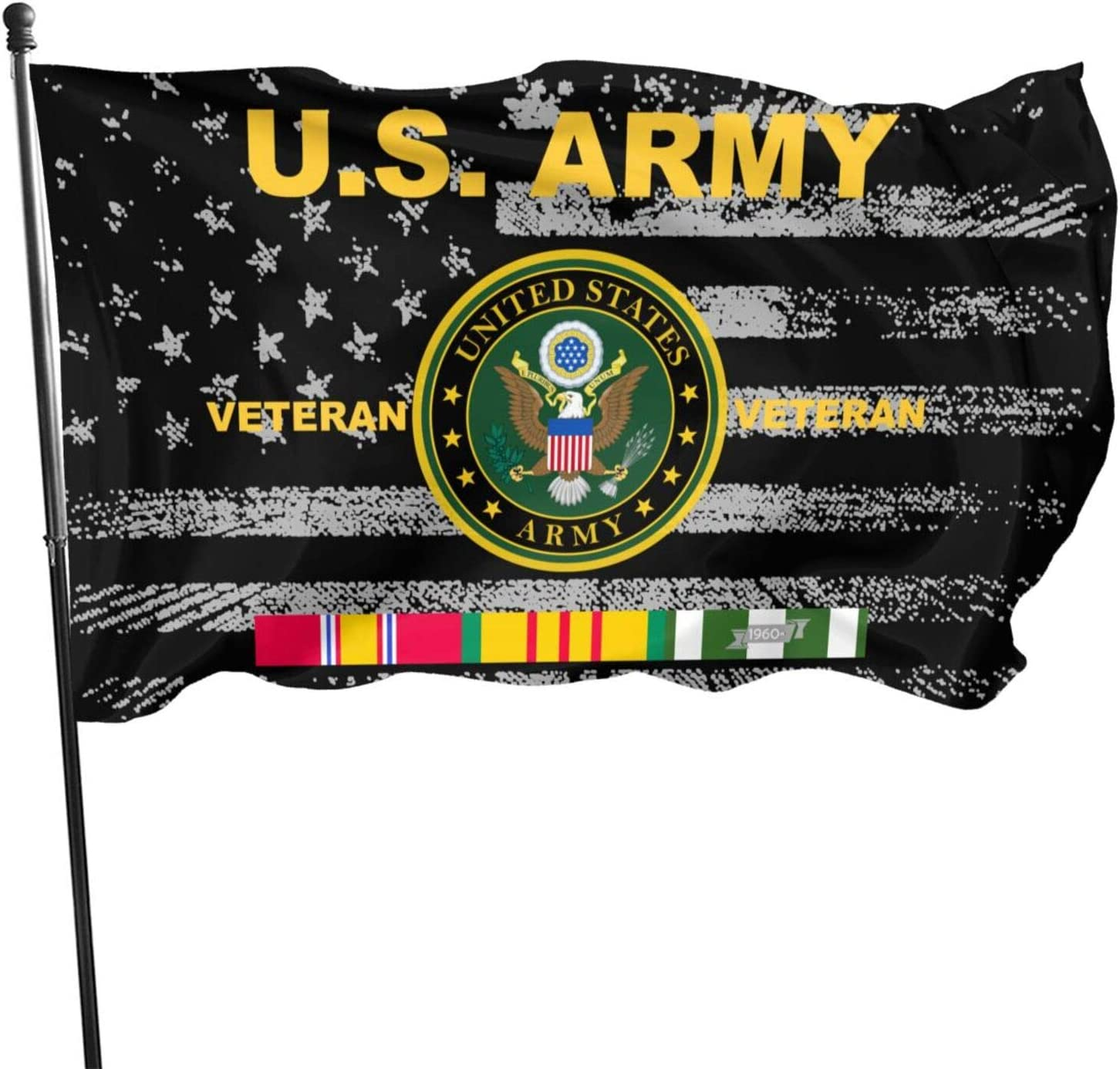 POYOMUK Us Army Vietnam Veteran Flag Flag Banners Banner Garden Flag House with Brass Grommets 3 X 5 Ft