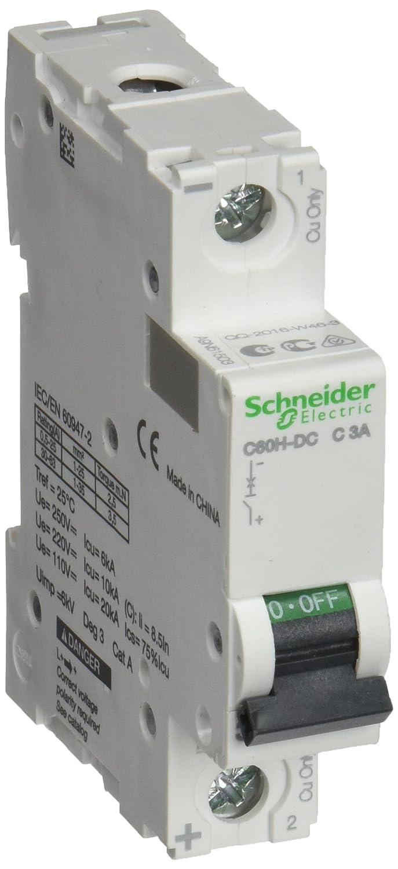 Schneider Electric A9N61503 C60H-DC Disjoncteur, Courbe C, 1P, 81 mm Hauteur x 18 mm Largeur x 73 mm Profondeur, 3 A Courant, 250VDC, Blanc