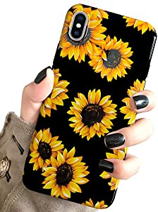 J.west iPhone Xs Case Vintage Flower Floral, Cute Yellow Sunflowers Black Soft Cover for Girls/Women Sturdy Flexible Slim fit Fashion Design Pattern Drop Protective Case for iPhone X/XS