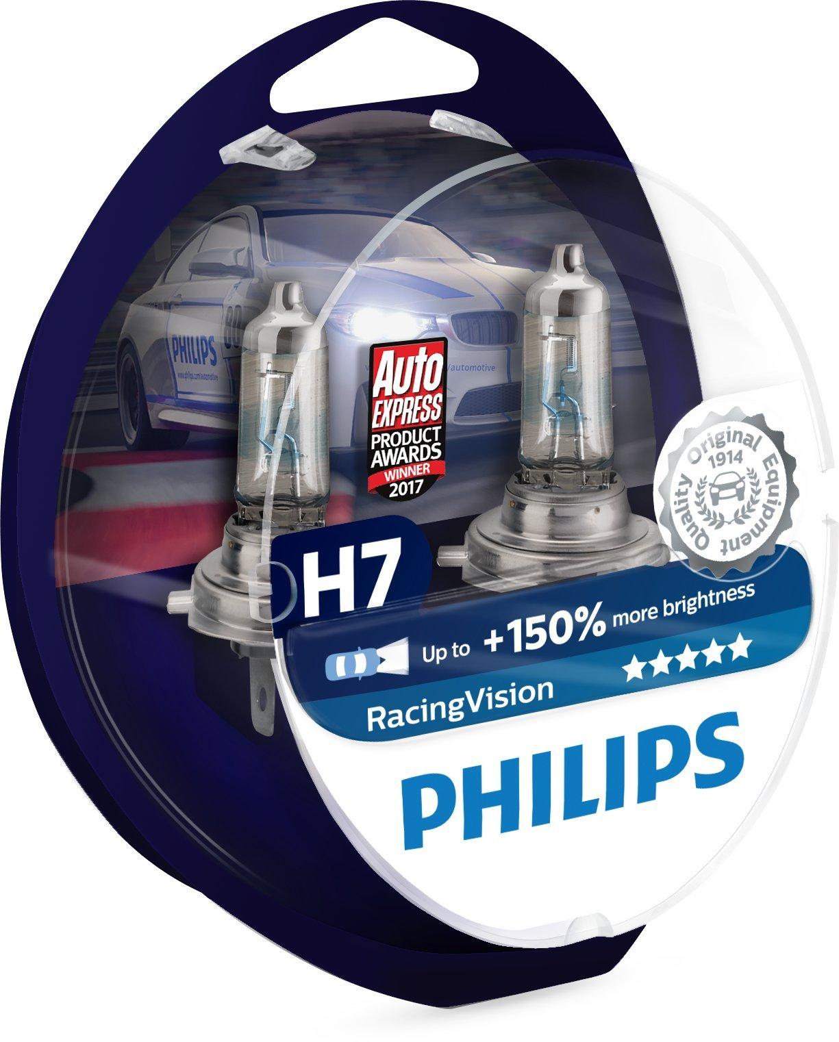 philips racingvision h7 headlight bulbs (twin) 12972rvs2 xtreme vision upgrade - 713DhPaaa6L - Philips RacingVision H7 Headlight Bulbs (Twin) 12972RVS2 Xtreme Vision Upgrade