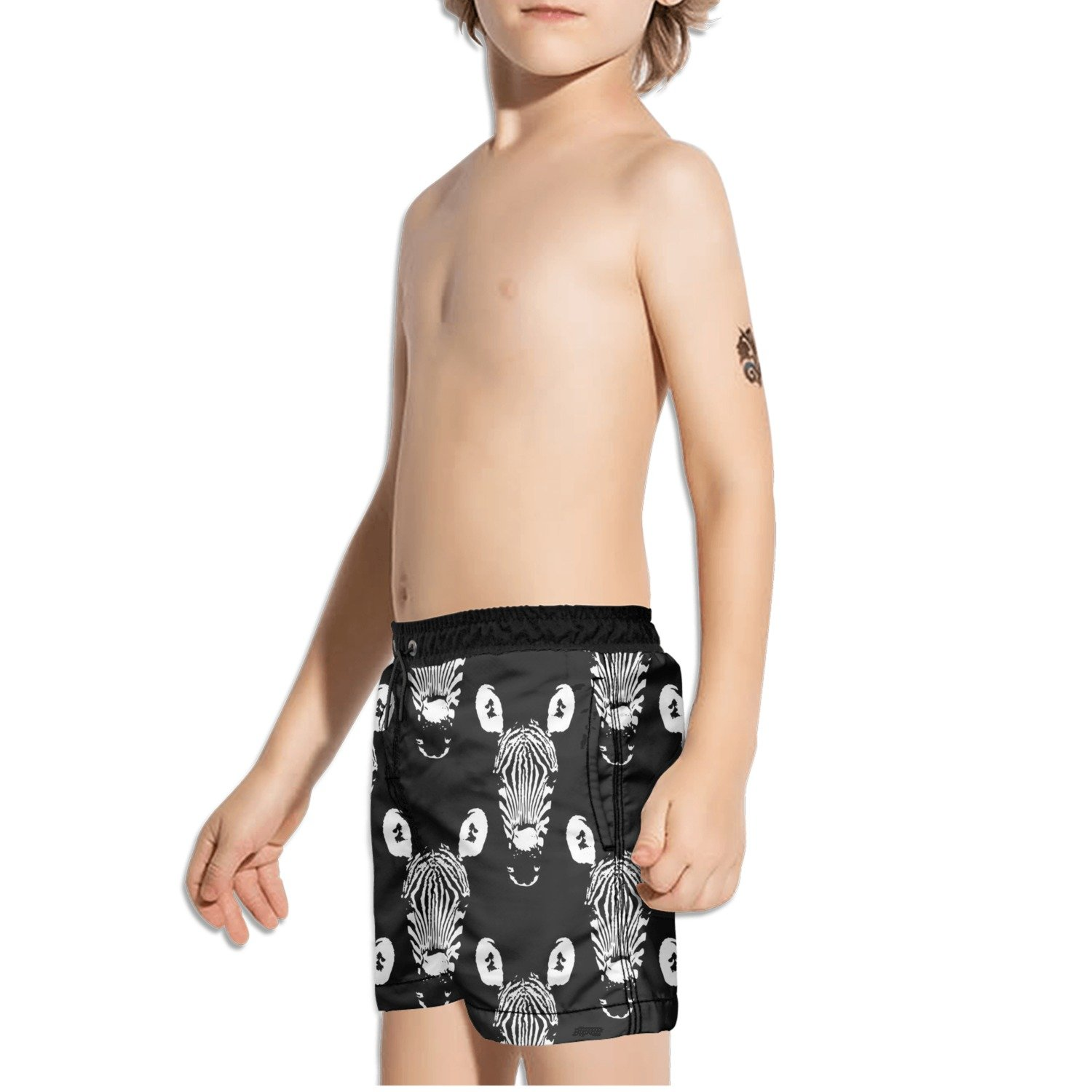FullBo Black and White Zebra Heads Little Boys Short Swim Trunks Quick Dry Beach Shorts