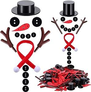 395 Pieces Christmas DIY Snowman Ornament Set Button Craft Ornament Mini Kit Includes Black Top Hat, Carrot Nose Button, Antler Decoration, Black Craft Button, Mini Christmas Scarf for Xmas Decor