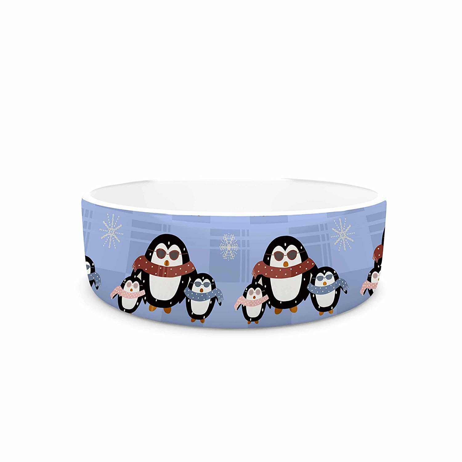 KESS InHouse Cristina Bianco Design Cute Penguins Pattern bluee Black Pet Bowl, 7  Diameter