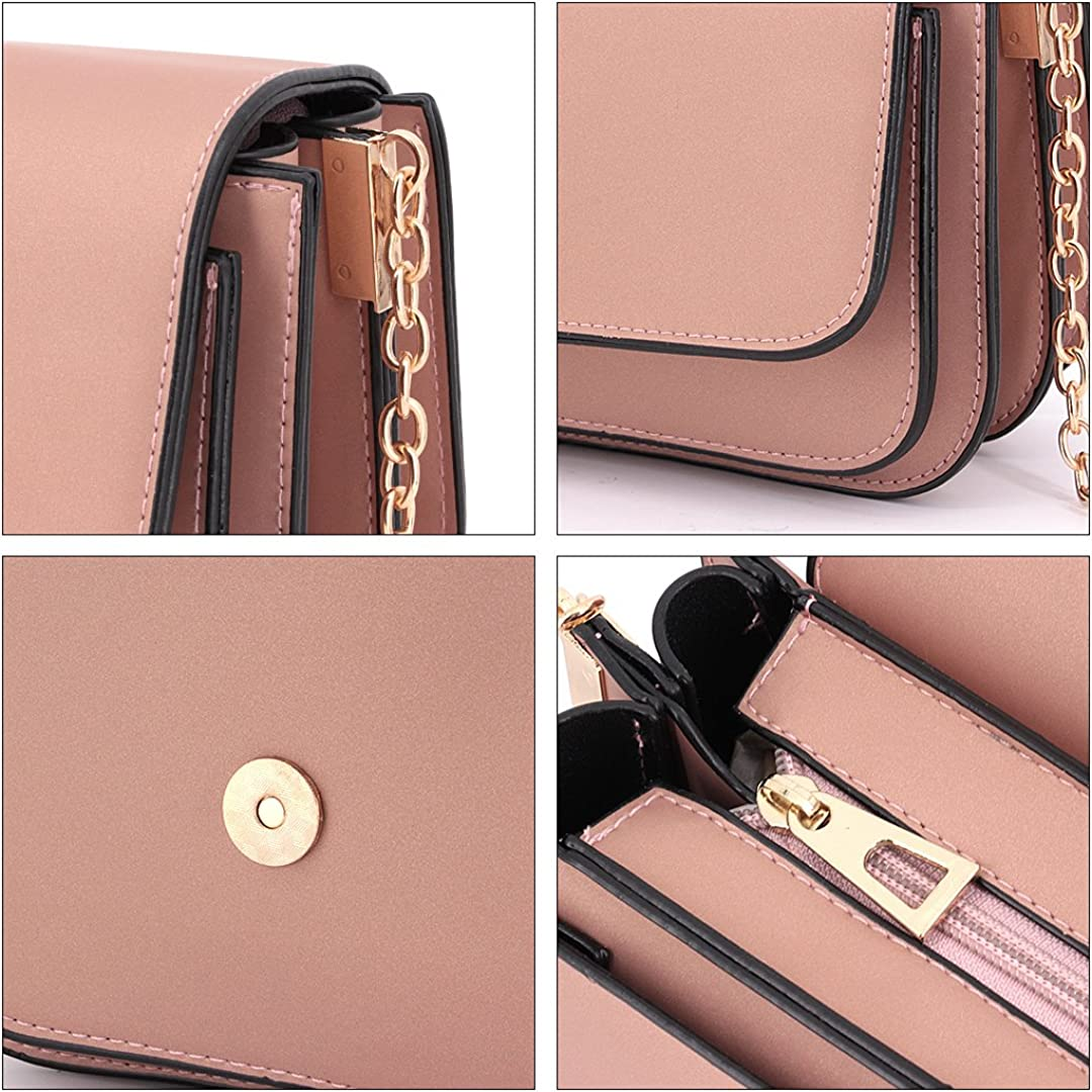 Pink Candice Wommen Shiny Hologram Holographic Pure Color Chain Shoulder Bag Handbag Purse Crossbody Bag