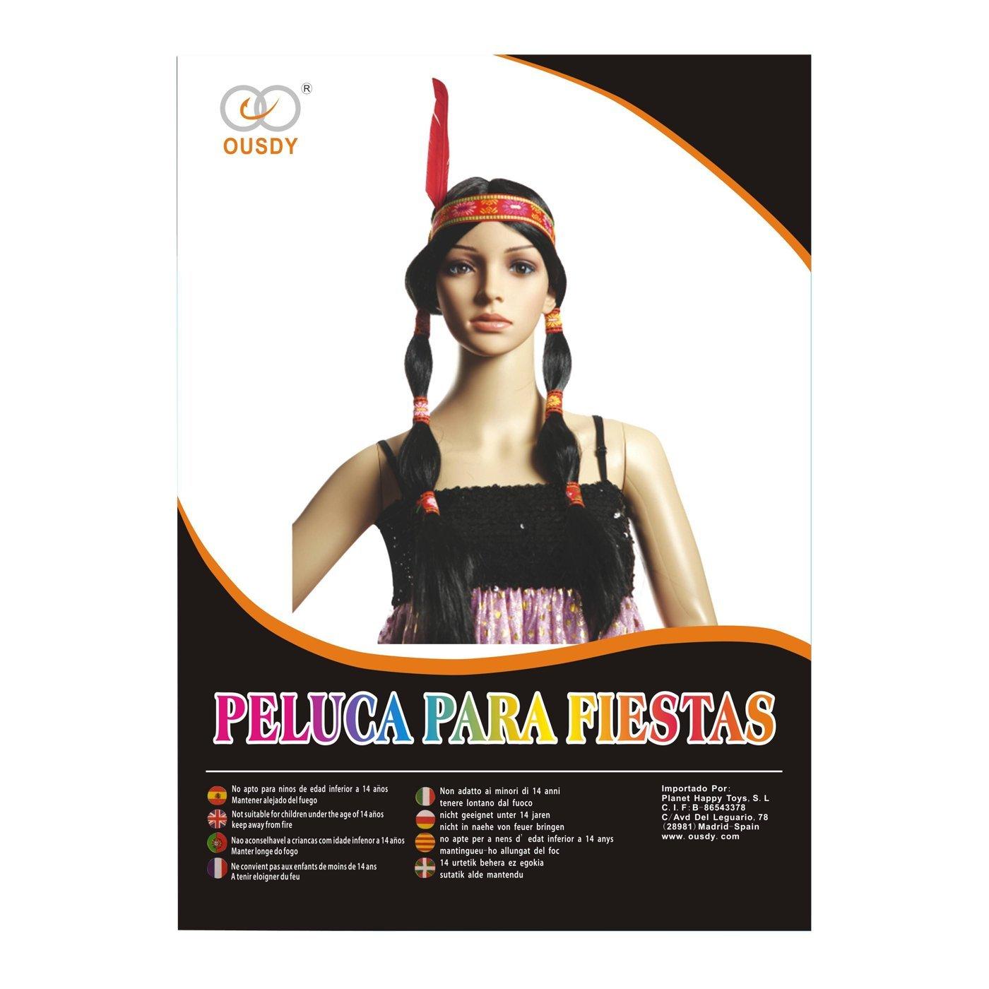 Ousdy Peluca de trenzas de india con plumas 691731 - Negro: Amazon.es: Juguetes y juegos