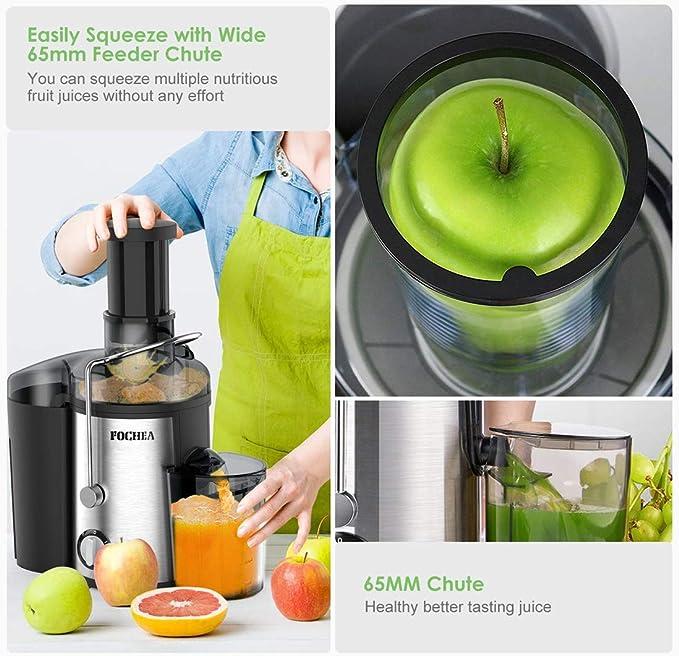 Entsafter für Obst und Gemüse aus Edelstahl FOCHEA Zentrifugaler Entsafter Juicer 65 mm Breite Einfüllöffnung 3 Geschwindigkeiten mit 450ml
